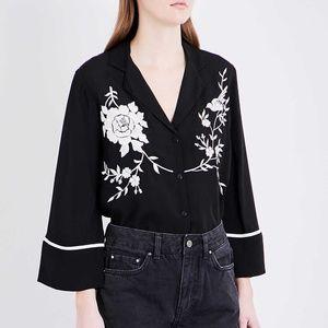 TOPSHOP Embroidered Kimono Blouse Shirt US 8